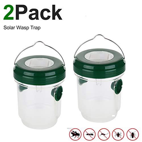 Kafen Wespenfalle - 2 Stück Sensor für Wespenfalle mit Solarenergie, wiederverwendbar, mit UV-Licht, zum Fangen von Insekten