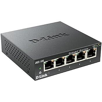 D-Link DGS-105 5-Port Layer2 Gigabit Switch (bis zu 2000 Mbit/s Datenübertragung pro Port, einfache Plug & Play-Installation, energiesparende Funktionen, lüfterlos, Metallgehäuse) schwarz