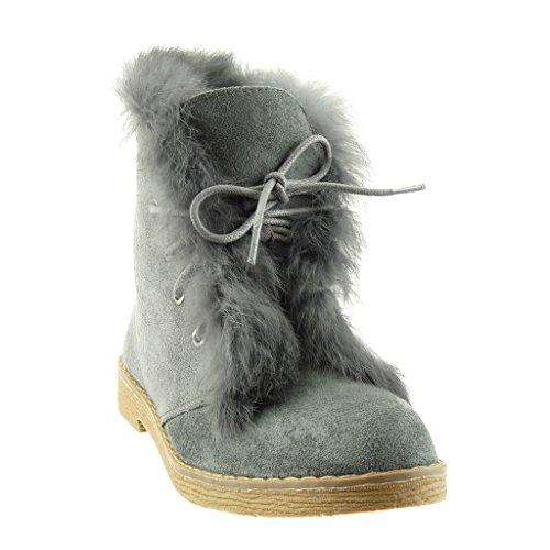 Angkorly Damen Schuhe Stiefeletten - Pelz - Fertig Steppnähte Blockabsatz High Heel 2.5 cm Grau