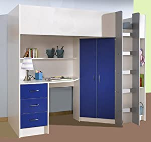 High Sleeper Calder White/blue High Bed M227wb