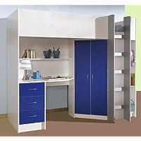 Mrsflatpack HIGH SLEEPER CALDER WHITE/BLUE HIGH BED M227WB