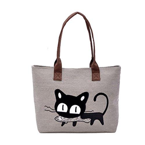 Sannysis Frauen-Schulter-Beutel-Segeltuch-Tasche Niedliche Katzen-Tasche Büro-Mittagessen-Beutel (grau)