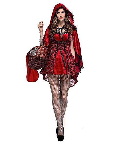 Disfraz Caperucita Roja Gótico Mujer Vestido de Fiesta para Halloween Carnaval Actuación con Capa de LaLaAreal ( Small )