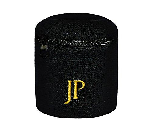 JayPee Funktions-Schweißband mit Fach Tasche und Reißverschluss/Sport Wristband (schwarz-Gold)