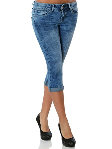 Daleus Damen High-Waist Capri-Jeans Sommerhose Kurze-Hose No 15861 Blau XS / 34