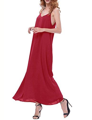 Kate Kasin Damen Casual Lose Spaghetti Trägern V-Ausschnitt Ärmellos Maxi Kleid Sommerkleid Strandkleid KK700 Rot