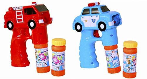2 x Seifenblasen Pistole Polizei & Feuerwehr Auto LED Licht Funktion Seifenblasenmaschine Babble Gun inkl. 4 x Seifenblasenlösung / Flüssigkeit & 6 AA Ambe Batterie