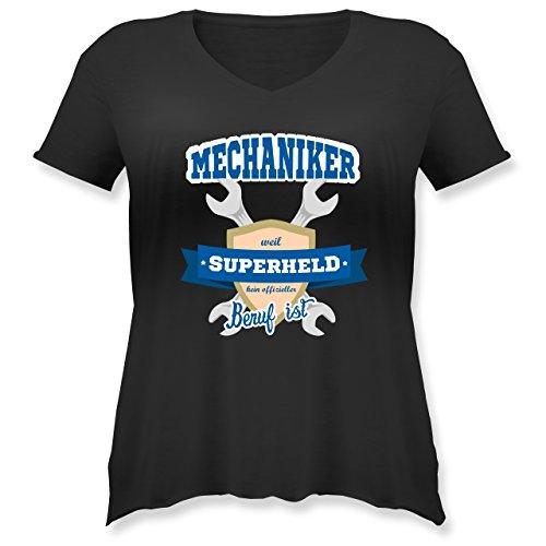 - Mechaniker - Weil Superheld Kein Offizieller Beruf ist - S (44) - Schwarz - JHK603 - Weit Geschnittenes Damen Shirt in Großen Größen mit V-Ausschnitt (Plus-size-superhelden-t-shirts)