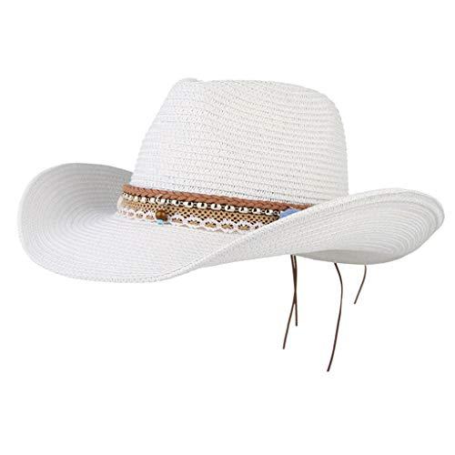 Unbekannt Damen Cowboy Stroh Hüte Westernhut Sonnenhut Breiter Krempe Gartenhut Strohhut Strandhut mit Pompoms Deko - Weiß