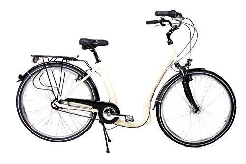 """28\"""" Alu Damen City Bike Easy Boarding Tiefeinsteiger Shimano 7G. Rücktritt Beige"""