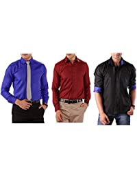Combo Of 3 Fashionable Slim Fit Shirts For Men By Mark Pollo London (Blue,Mehrun,Black)