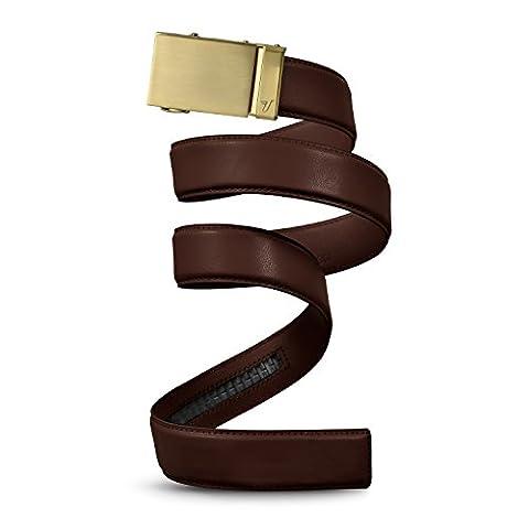 Mission Belt Men's Ratchet Belt - Gold 40 - Gold Buckle / Chocolate Brown Leather Strap, Large (36 - 38)