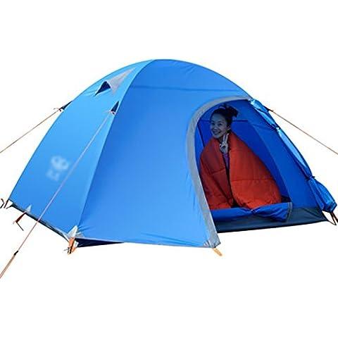 Al aire libre Tienda de campaña de aluminio del poste 3-4 Doble Doble Abrir la puerta más que Camping Cabañas lluvia Carpa ( Color : Azul )