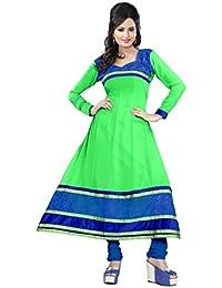 JHEENU Women's Georgette Dress Material (LSROYAL08_Free Size_Parot Green)