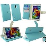 Emartbuy® Samsung Galaxy S5 Brieftaschen Wallet Etui Hülle Case Cover aus PU Leder Blau mit Kreditkartenfächern