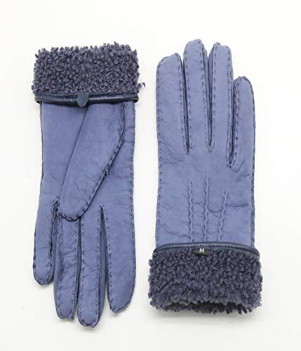 YISEVEN Damen Curly Shearling Handschuhe Neuseeland Lammfell Handarbeit mit Warm Gefüttert Elegant Winter Autofahrer LederHandschuhe, Vallarta Blau M