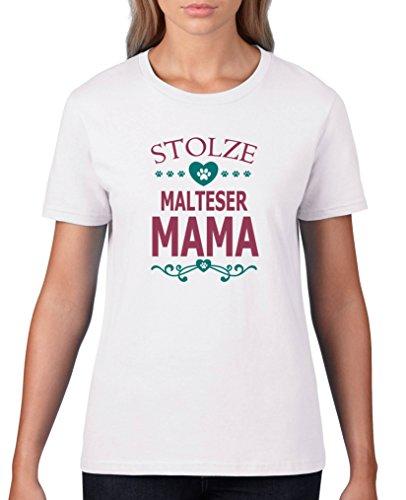 Comedy Shirts - Stolze Malteser Mama - Damen T-Shirt - Weiss / Fuchsia-Türkis Gr. XS