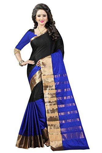 Women's Poly Cotton Traditional Saree Unstitched Blouse Design (Aura 16 Blue Black_Blue...