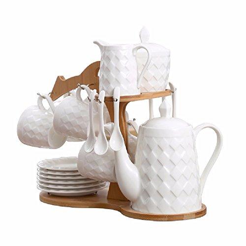 HQLCX zu hause keramik - kaffeemaschine, tasse und untertasse, klartext wei?e tee tasse, mit einem l?ffel Isolierte Kaffeemaschine