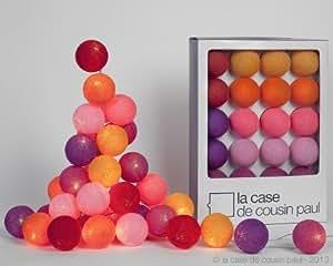 Décoration et Accessoires + La Case de Cousin Paul - Guirlande lumineuse électrique composée de 20 boules colorées - Coffret June Juea