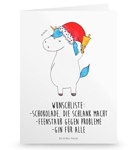 Mr. & Mrs. Panda Klappkarte, Hochzeitskarte, Grußkarte Einhorn Weihnachtsmann mit Spruch - Farbe Weiß