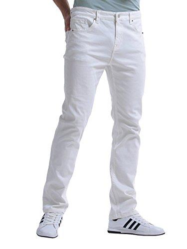 Alice & Elmer Jeans Stretch Slim Coupe Droite,Pantalon Homme,Jeans Homme, Blanc 30W x 32L