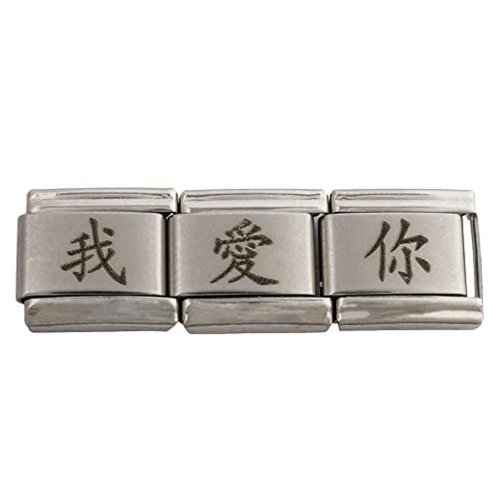 Cazani Chinese Signs Einzelmodul Chinesisches Zeichen für Ich Liebe Dich / I Love You Edelstahl antialergen 424