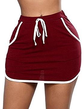 LHWY-Falda Falda Ajustados Con Bolsillo Mujer LáPiz Color SóLido Falda Corto De Cintura Alto Con Cordones Verano