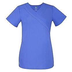 Adar Uniforms Medical Uniforms Women's Double Mock Wrap Hospital Scrub Top Workwear, Color Cbl | Size: L
