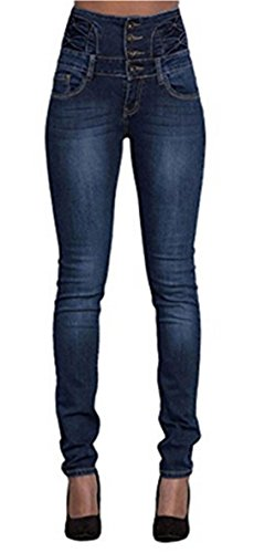 LAEMILIA Damen Jeans mit hoher Taille Stretch Dünn Skinny Hose (Taille Jeans Hose)