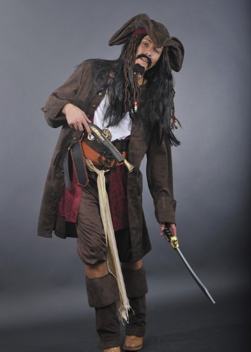 Magic Box Jack Sparrow Style de Rum Smuggler Costume Pirate Medium (37-40' Chest)