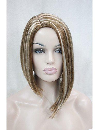 Praktische Mode Perücken europäisches Haar asymmetrische kein knallt rotblond mit blonden Highlight Seite Haut Spitzenperücke -