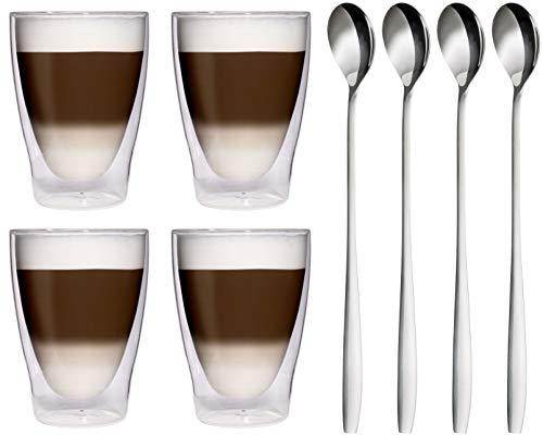 4x 280ml XL doppelwandige Thermogläser + 4x Edelstahl-Löffel - Latte Macchiato-Gläser / Cocktailgläser - 4x 280ml edle Thermogläser mit Schwebeeffekt von Feelino