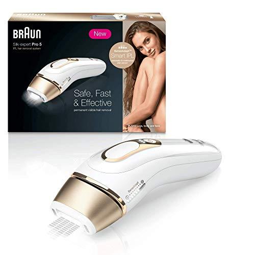 Braun silk-expert pro 5 pl5014 epilatore luce pulsata, epilazione definitiva di gambe, corpo e viso, bianco/oro, rasoio venus smooth, custodia esclusiva, clinicamente testato, 400.000 impulsi di luce