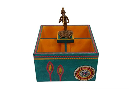 Ethnic multicoloured warli painted wooden cutlery holder with dhokra work lady