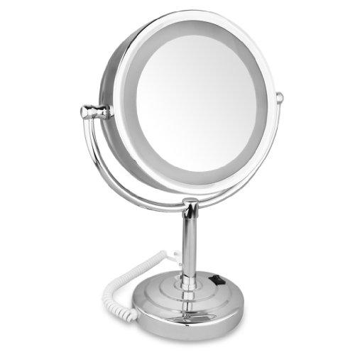 Finether-Espejo-con-Lmpara-LED-ExtensiblePlegableDosCarasUna-Cara-de-Espejo-NormalOtra-de-AumentoPlata