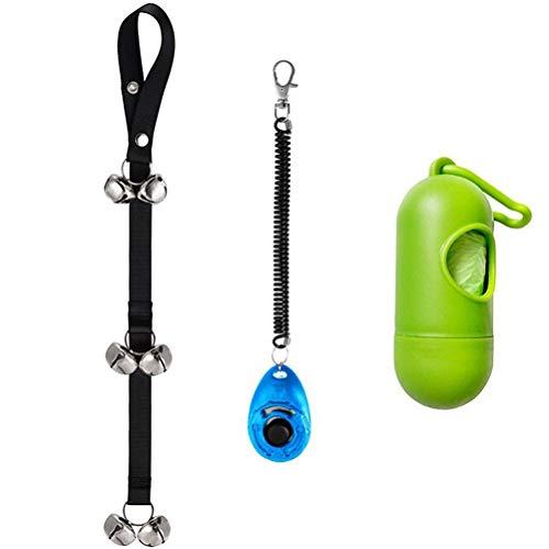 Bazgo 3 Pcs/Lot Dog Training Pet Clickers and Dog Doorbells with Wrist Strap,Waste Bag Dispenser Pet Dog Cat Training Set for House Training, Click and Train Dog (Dog House Training)