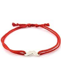 Meenakari 92.5 Sterling Silver Mustache & Mooch charm adjustable bracelet rakhi for brother