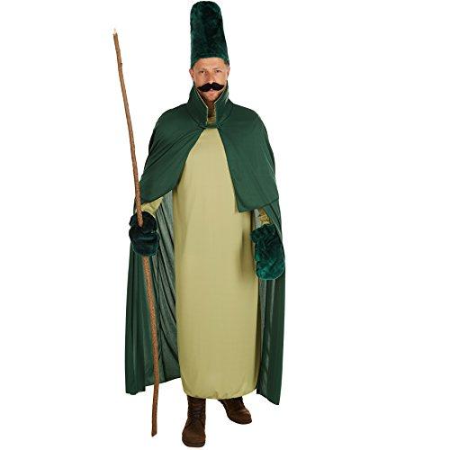 stüm Waldzaubergeist | Langes Gewand | Inkl. Handschuhe, Hut und selbstklebender Bart (M | Nr. 301186) (Mystische Zauberer Kostüm)