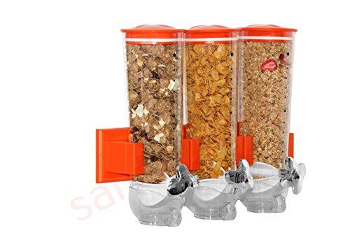 SaleemSpace - Dispensador / unidad de almacenamiento triple de cereales y alimentos secos, para montar en la pared naranja