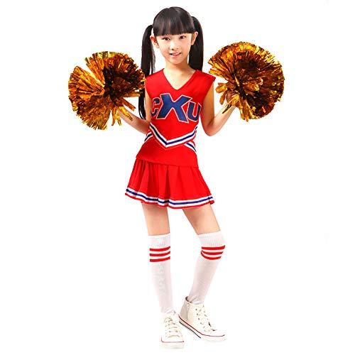 Kinder Mädchen Cheerleader Kostüm CheerleadingUniform Karneval Fasching Party Kleid Halloween Kostüm mit 2 Pompoms Socken Rot 160