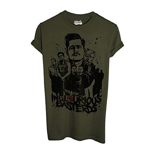 T-Shirt INGLORIOUS BASTARDS TARANTINO - FILM by Mush Dress Your Style - Uomo-XL-Verde Militare