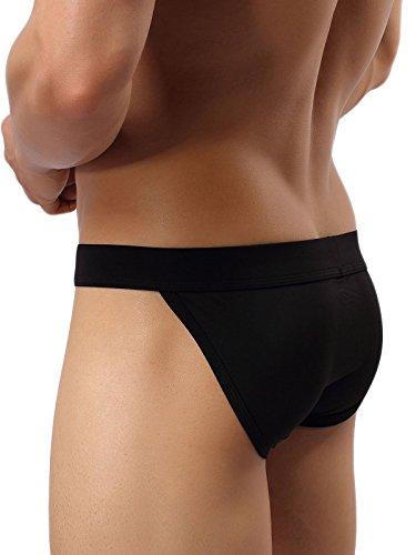 Summer Code Herren Unterhosen Sanfter Bikini Sexy Unterwäsche mit Ausbuchtung 4-Pack Schwarz
