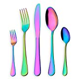 HOMQUEN Colorful Flatware Set, 30 Pieces Stainless Steel Knives Forks Spoons Set for 6 Persons (Rainbow, 6 Sets)