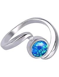 KELITCH Anillo en forma de anillo de giro de ópalo Creado en anillo de plata 925 plateado - Tamaño