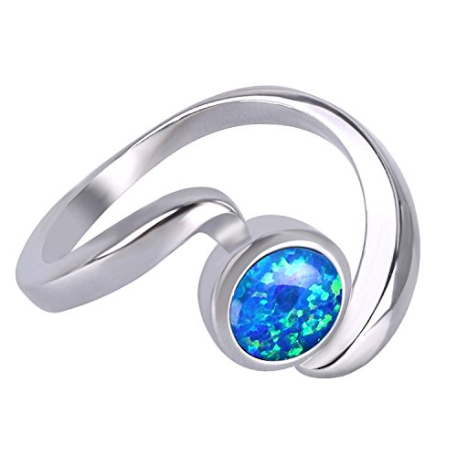 KELITCH Ring Damen Synthetische Blau Opal Twist Stapelringe 925 Sterling Silber Überzogen Ringe Mädchen Herren - Größe 9 (59mm)