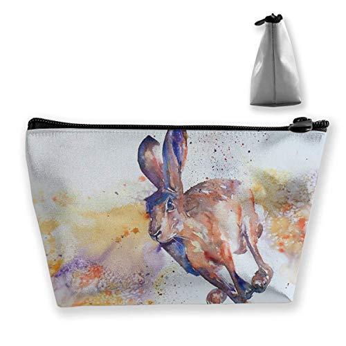 Springenden Kaninchen malen multifunktionale Trapez Aufbewahrungstasche Kulturbeutel Reißverschluss erhalten Tasche -