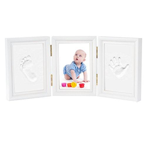 Marco Huellas Kit Bebe Marco de Fotos con Huella Bebe Recuerdos Huellas Arcilla Regalo para Recién Nacidos (3 partes, blanco)