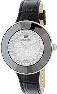 Swarovski Women's Black Leather Band Steel Case Quartz Silver-Tone Dial Analog Watch 508