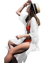 WANGXN Cardigan en mousseline de soie pour femme Blouse extérieure en bord de plage Blouse en bikini au coucher du soleil Plage
